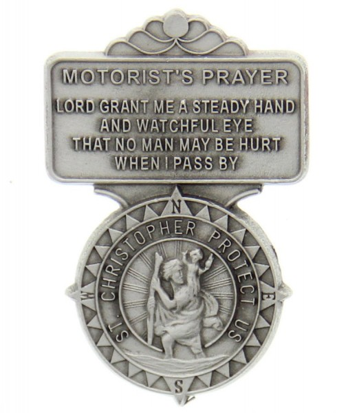 "St. Christopher Motorist's Prayer Visor Clip, Pewter, 2 1/2""H - Silver"