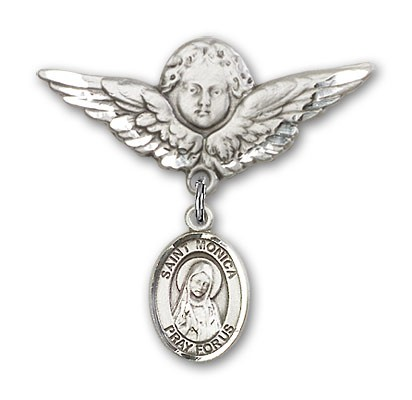 Pin Badge with St. Monica Charm and Angel with Larger Wings Badge Pin - Silver tone