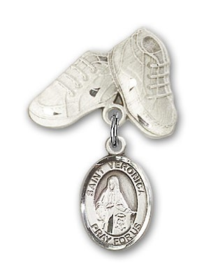 Pin Badge with St. Veronica Charm and Baby Boots Pin - Silver tone