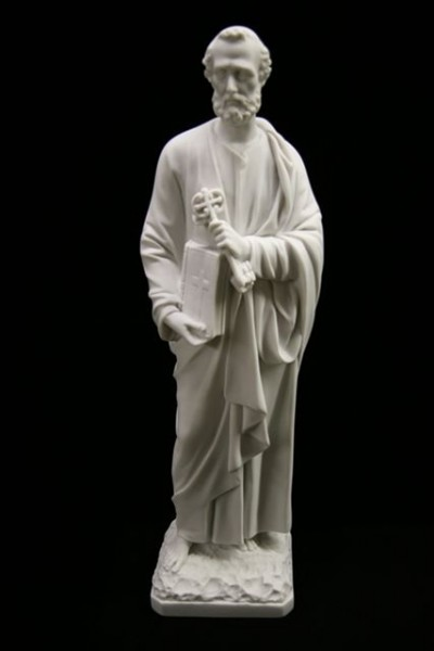 Saint Peter Statue White Marble Composite - 24.5 inch - White