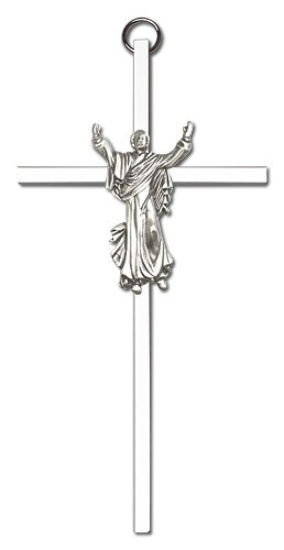 "Risen Christ Wall Crucifix  6"" - Silver tone"