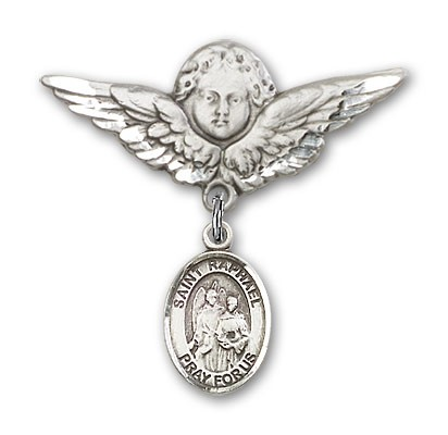 Pin Badge with St. Raphael the Archangel Charm and Angel with Larger Wings Badge Pin - Silver tone