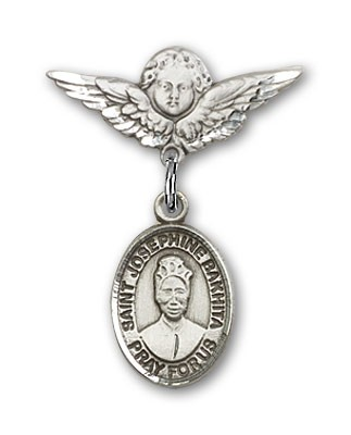 Pin Badge with St. Josephine Bakhita Charm and Angel with Smaller Wings Badge Pin - Silver tone