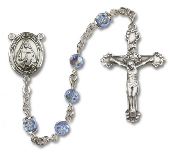 St. Theodora Guerin Sterling Silver Heirloom Rosary Fancy Crucifix - Light Amethyst