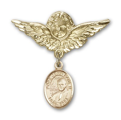 Pin Badge with Pope John Paul II Charm and Angel with Larger Wings Badge Pin - 14K Solid Gold