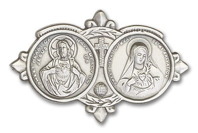 Sacred Heart of Jesus and Immaculate Heart of Mary Visor Clip - Antique Silver
