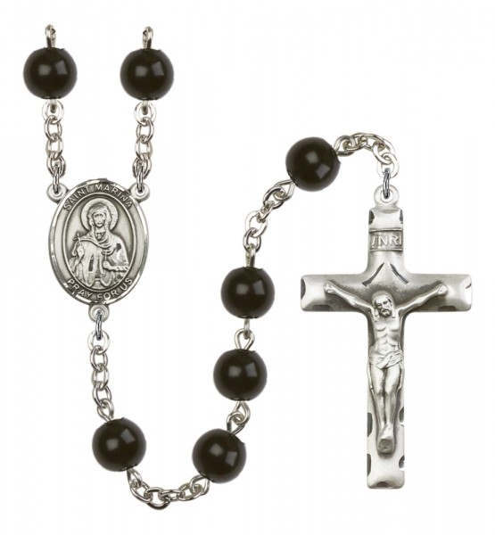 Men's St. Marina Silver Plated Rosary - Black