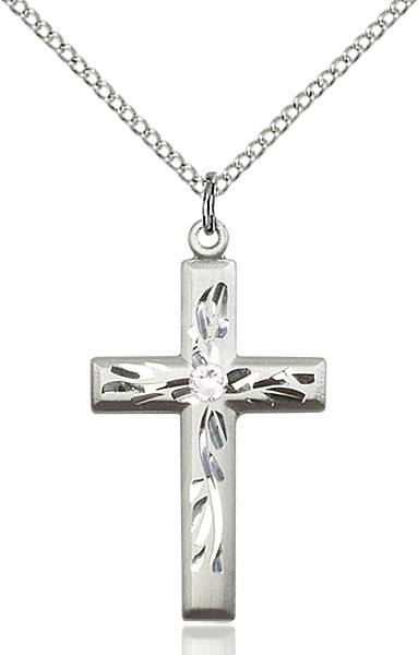 Squared Edge Cross with Vine Etching with Birthstone Options - Crystal