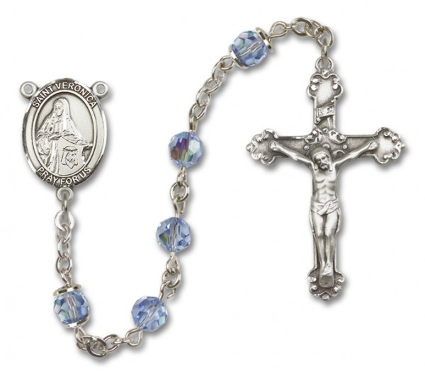St. Veronica Rosary Heirloom Fancy Crucifix - Light Sapphire
