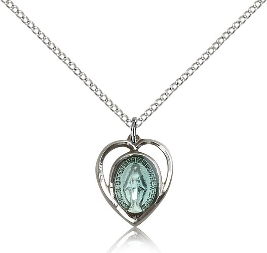Heart Shaped Miraculous Pendant - Silver | Blue