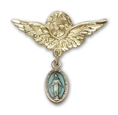 Pin Badge with Blue Miraculous Charm and Angel with Larger Wings Badge Pin - 14KT Gold Filled