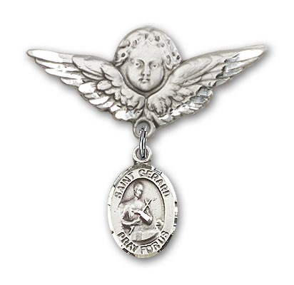 Pin Badge with St. Gerard Charm and Angel with Larger Wings Badge Pin - Silver tone