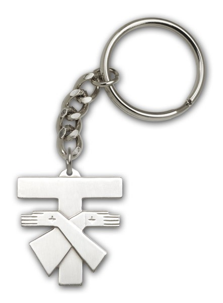 Franciscan Cross Keychain - Antique Silver