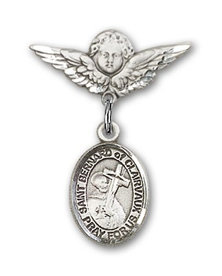 Pin Badge with St. Bernard of Clairvaux Charm and Angel with Smaller Wings Badge Pin - Silver tone