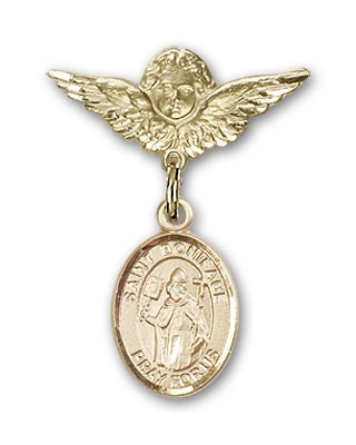 Pin Badge with St. Boniface Charm and Angel with Smaller Wings Badge Pin - 14K Yellow Gold