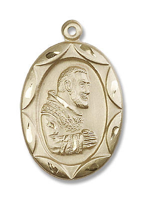 St. Padre Pio of Pietrelcina Medal - 14K Yellow Gold