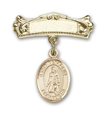 Pin Badge with St. Peregrine Laziosi Charm and Arched Polished Engravable Badge Pin - Gold Tone