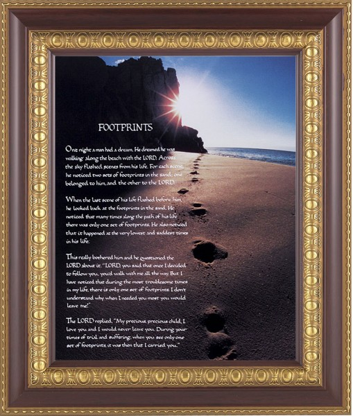 Footprints Prayer Framed Print - #126 Frame