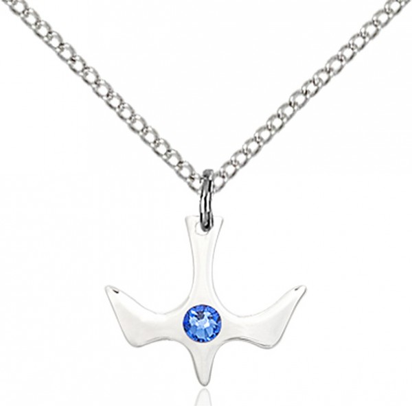 Holy Spirit Pendant with Birthstone Options - Sapphire