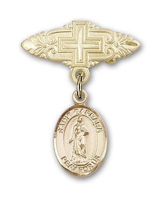 Pin Badge with St. Barbara Charm and Badge Pin with Cross - 14K Yellow Gold