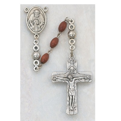 Men's Rosary with Trinity Crucifix, Oval Brown Wood Beads - Brown
