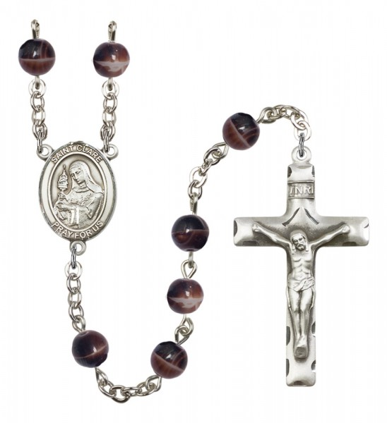 Men's St. Clare of Assisi Silver Plated Rosary - Brown
