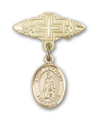 Pin Badge with St. Peregrine Laziosi Charm and Badge Pin with Cross - Gold Tone