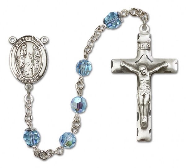 St. Genevieve Sterling Silver Heirloom Rosary Squared Crucifix - Aqua