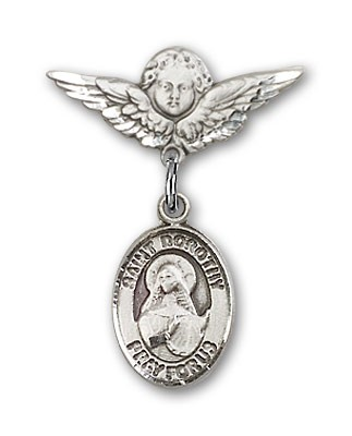Pin Badge with St. Dorothy Charm and Angel with Smaller Wings Badge Pin - Silver tone