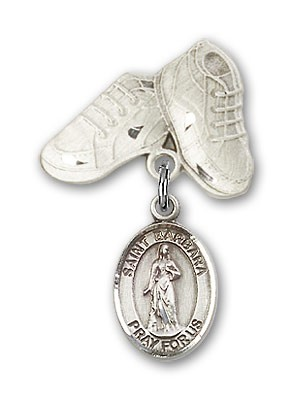 Pin Badge with St. Barbara Charm and Baby Boots Pin - Silver tone