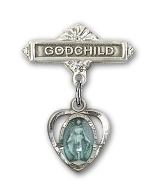 Baby Badge with Miraculous Charm and Godchild Badge Pin - Silver | Blue