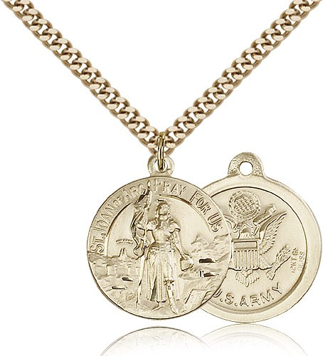Army St. Joan of Arc Medal - 14KT Gold Filled