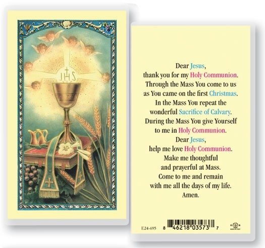 First Communion Laminated Prayer Cards 25 Pack - Full Color