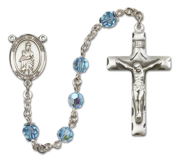 Our Lady of Victory Sterling Silver Heirloom Rosary Squared Crucifix - Aqua