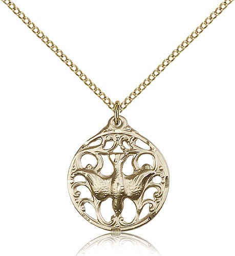 Women's Round Holy Spirit Cut Out Medal - 14KT Gold Filled
