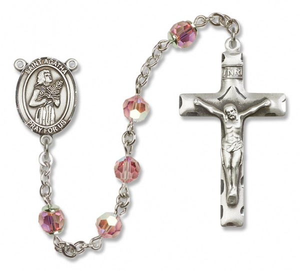 St. Agatha Rosary Heirloom Squared Crucifix - Light Rose