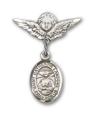 Pin Badge with St. Catherine Laboure Charm and Angel with Smaller Wings Badge Pin - Silver tone