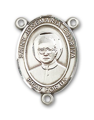 St. Josemaria Escriva Rosary Centerpiece Sterling Silver or Pewter - Sterling Silver