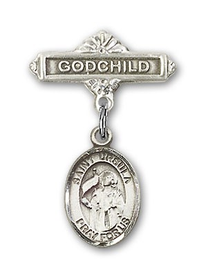 Pin Badge with St. Ursula Charm and Godchild Badge Pin - Silver tone