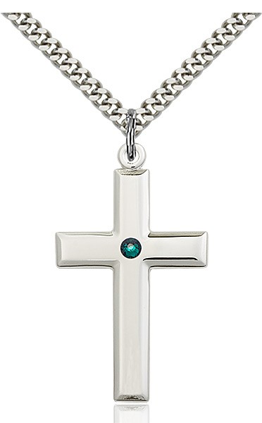 Large Plain Cross Pendant with Birthstone Options - Emerald Green