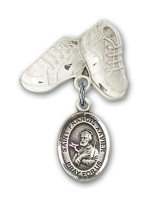 Pin Badge with St. Francis Xavier Charm and Baby Boots Pin - Silver tone