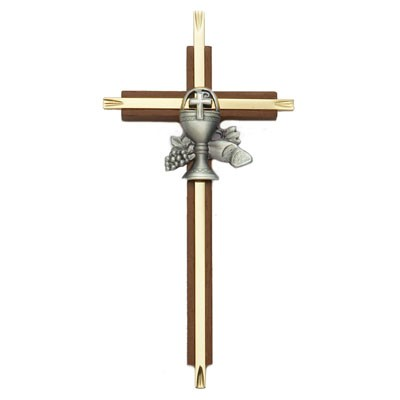 First Communion Cross in Walnut and Brass - 7 inch - Brown | Gold
