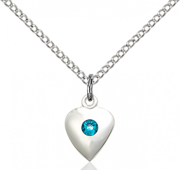 Baby Heart Pendant with Birthstone Options - Zircon