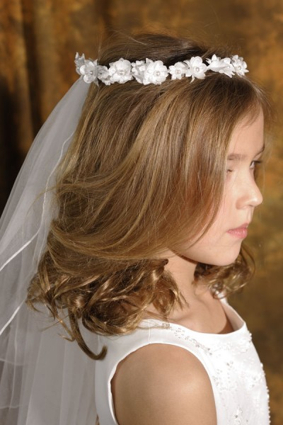 First Communion Flower and Pearl Wreath Veil - White