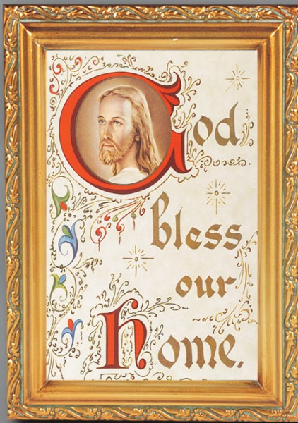 House Blessing Antique Gold Framed Print - Full Color