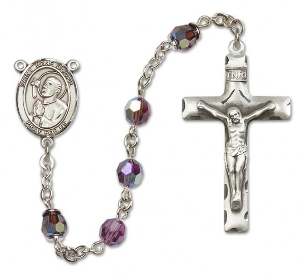 St. Rene Goupil Sterling Silver Heirloom Rosary Squared Crucifix - Amethyst