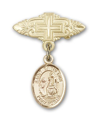 Pin Badge with St. Catherine of Siena Charm and Badge Pin with Cross - Gold Tone