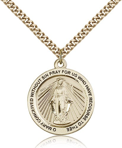 Rays of Light Miraculous Medal Necklace - 14KT Gold Filled