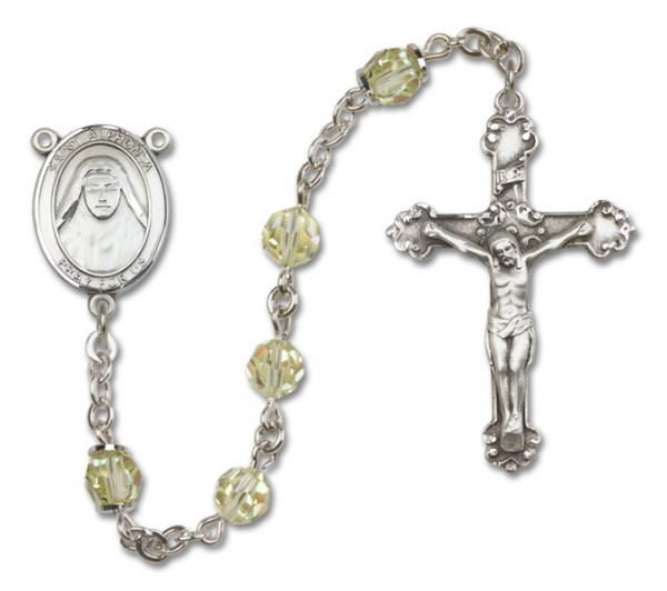 St. Alphonsa Sterling Silver Heirloom Rosary Fancy Crucifix - Jonquil
