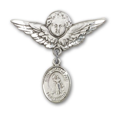 Pin Badge with St. Joan of Arc Charm and Angel with Larger Wings Badge Pin - Silver tone